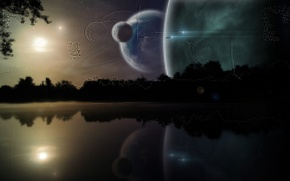 Wallpaper space, stars, trees, night, lake, fiction, planet, ships