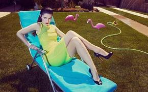 Picture sexy, dress, yellow, model, garden, cute, acress, mary elizabeth winstead
