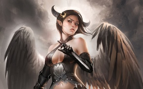 Picture fantasy, Girl, wings, the demon, art, succubus