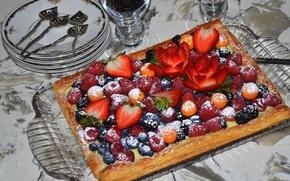 Picture berries, raspberry, strawberry, pie, dessert, physalis, BlackBerry, blueberries