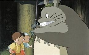 Picture night, children, smile, gift, surprise, being, umbrella, my neighbor Totoro, totoro, tonari no totoro, satsuki …