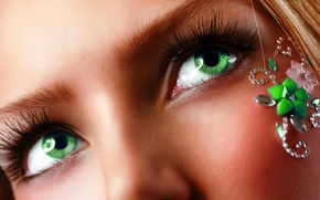 Picture eyes, girl, face, eyelashes, green, blonde, eyebrows, decoration