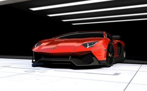 Picture red, background, Lamborghini, supercar, Corsa, the front, Lamborghini, Aventador, Aventador, Limited Edition, RENM