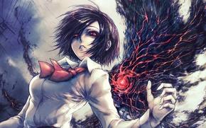 Picture eyes, girl, art, Tokyo Ghoul, Tokyo ghoul, Kirishima Bring, ghoul, Tokyo monster