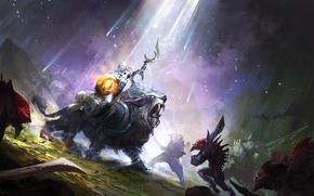 Picture hero, battle, art, Dota 2, Luna, moba, Moon Rider