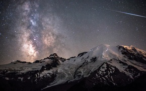 Picture the sky, space, mountains, stars, Night