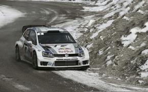 Picture Winter, Volkswagen, Race, The hood, WRC, Rally, The front, Polo, Sebastien Ogier, Julien Ingrassia