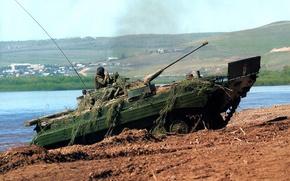 Picture machine, river, shore, combat, BMP-2, infantry, crawler