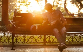 Picture the conversation, widescreen, bench, HD wallpapers, Wallpaper, tree, love, background, woman, widescreen, nature, bench, pair, ...