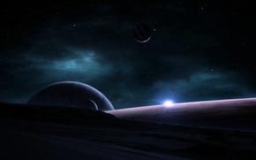 Picture space, stars, nebula, sunrise, planet