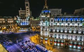 Picture road, auto, machine, building, crossroads, night city, Spain, Madrid, Madrid, Metropolis Building, Spain