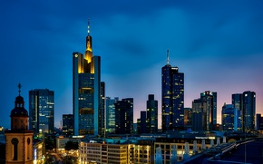Picture the sky, sunset, lights, home, skyscrapers, the evening, Germany, Frankfurt am main