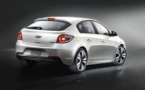 Picture machine, white, background, lights, dark, Chevrolet, wheel, car, Cruze, hatchback