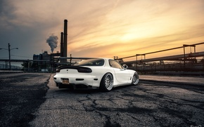Picture Mazda, Car, Sun, White, RX-7, BBS, Wheels, Rear, Swap, LS1