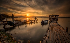 Picture sea, the sky, clouds, landscape, sunset, nature, boat