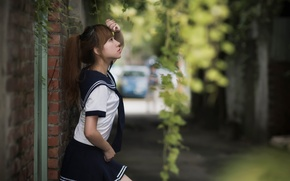 Picture girl, street, style, uniform
