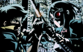 Picture gun, Windows, katana, battle, rage, glasses, stained glass, the fight, Cowboy Bebop
