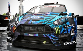 Picture car, Blue, rally, WRC, Ken Block, racing, Ken Block, Hoonigan, GoPro, Ford fiesta