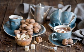 Picture kettle, mugs, still life, hot chocolate, pasta, marshmallows, coffee beans