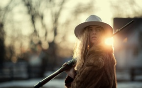 Picture girl, face, hat, fur, rifle, Marta