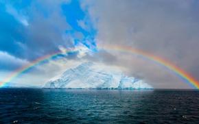 Wallpaper glacier, ice, the sky, clouds, the ocean, sea, Arctic, rainbow, iceberg