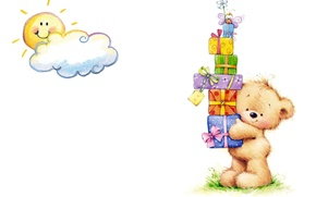 Picture mood, holiday, art, bear, gifts, the sun, children's