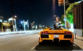 Picture night, street, lamborghini, murcielago, roadster