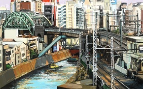 Picture bridge, the city, river, railroad, Tokyo, art, Shitub52