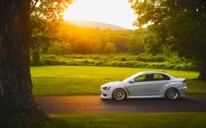 Picture Mitsubishi, Lancer, Car, Grass, Sun, Sunset, White, Side, Road, Evolution X, Stance