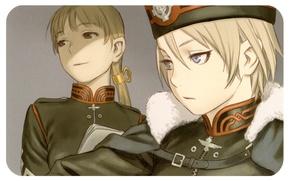 Picture fur, emblem, blue eyes, military uniform, Tatiana Wisla, Last Exile, Exile, Alister Agrew, by Range …