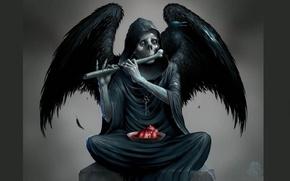 Picture heart, skull, Death, bone, Raven, black wings, rags, Sawan