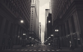 Picture machine, the city, people, street, building, skyscrapers, America, Chicago, USA