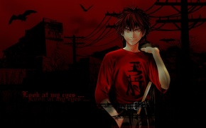 Picture night, wire, bats, red eyes, art, barbed wire, cool, Takeshi Obata, a bloody mist, Hikaru …