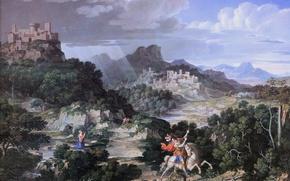Picture Munich, picture gallery, Neue Pinakothek, Heroic Landscape with Saint George, Joseph Anton Koch, Austrian artist-romantic, …