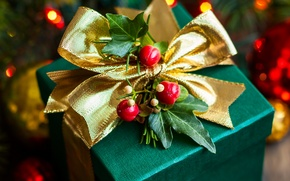 Picture leaves, berries, box, gift, New Year, Christmas, tape, bow, Christmas, green, holidays, New Year, gold, …