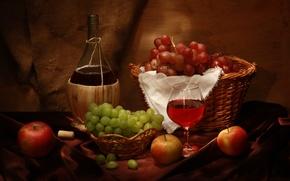 Picture wine, basket, apples, glass, bottle, grapes, tube, still life, wine