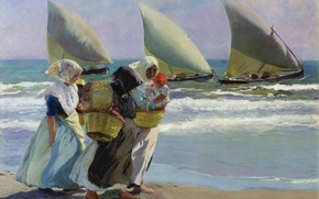 Picture waves, sea, ocean, spain, sand, painting, wind, boat, situation, seashore, fishing, sail, family, jaoquin sorolla, …