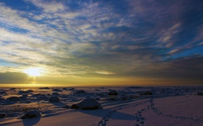 Picture winter, the sky, clouds, landscape, sunset, nature, real photo