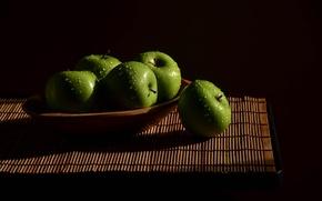 Picture water, drops, apples, green, light, fruit, still life, wood, fresh, Mat, Apples
