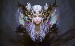 Picture decoration, Girl, minimalism, horns