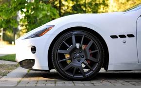 Picture white, Maserati, wheel, Matt, disk, granturismo, wheel, whitem matt, rim. Maserati