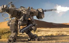 Picture fire, desert, robot, shooting, guns, Sands, shagatel