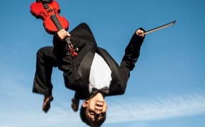 Picture music, jump, violin, people