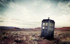 Picture the sky, landscape, wasteland, Doctor Who, Doctor Who, The TARDIS, BBC, TARDIS, Police Box, Police ...