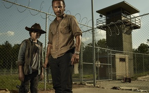 Wallpaper The walking dead, The Walking Dead, Rick Grimes, Carl Grimes, Andrew Lincoln, Chandler Riggs, Chandler ...