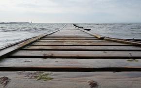 Picture sea, water, overcast, the bridge