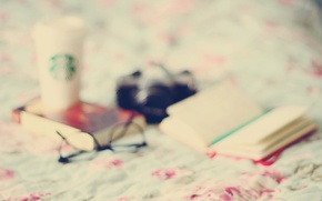 Picture glass, mood, blur, glasses, book, wallpapers, background. Wallpaper, mug. bed, owner. Notepad