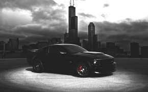 Picture car, city, mustang, Mustang, wallpaper, America, ford, shelby, black, Ford, auto, landscape, muscle, blur, american, ...