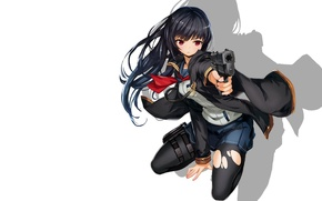 Picture girl, gun, weapons, art, white background, sailor, saitom