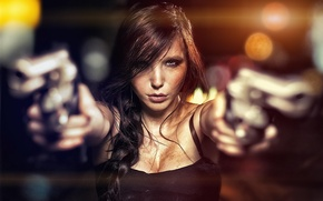 Picture Girl, guns, pistols, woman, two, lady, pose, threat, armed